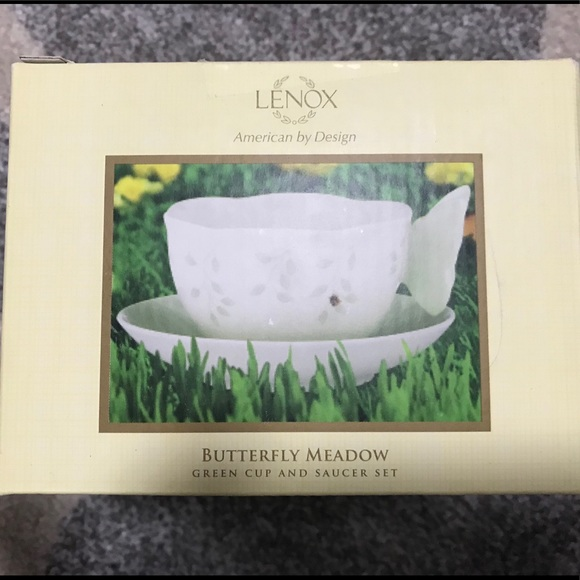 Lenox Butterfly Meadow Figural Green Cup & Saucer